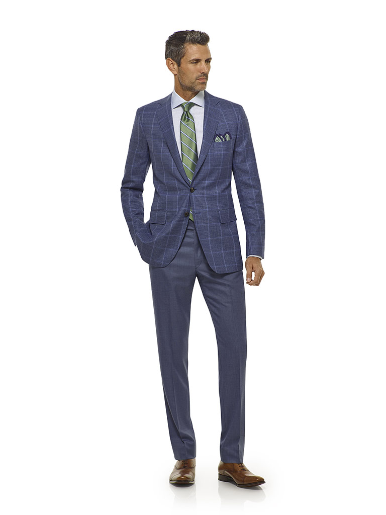 Blue Windowpane Sport Coat - Executive Collection