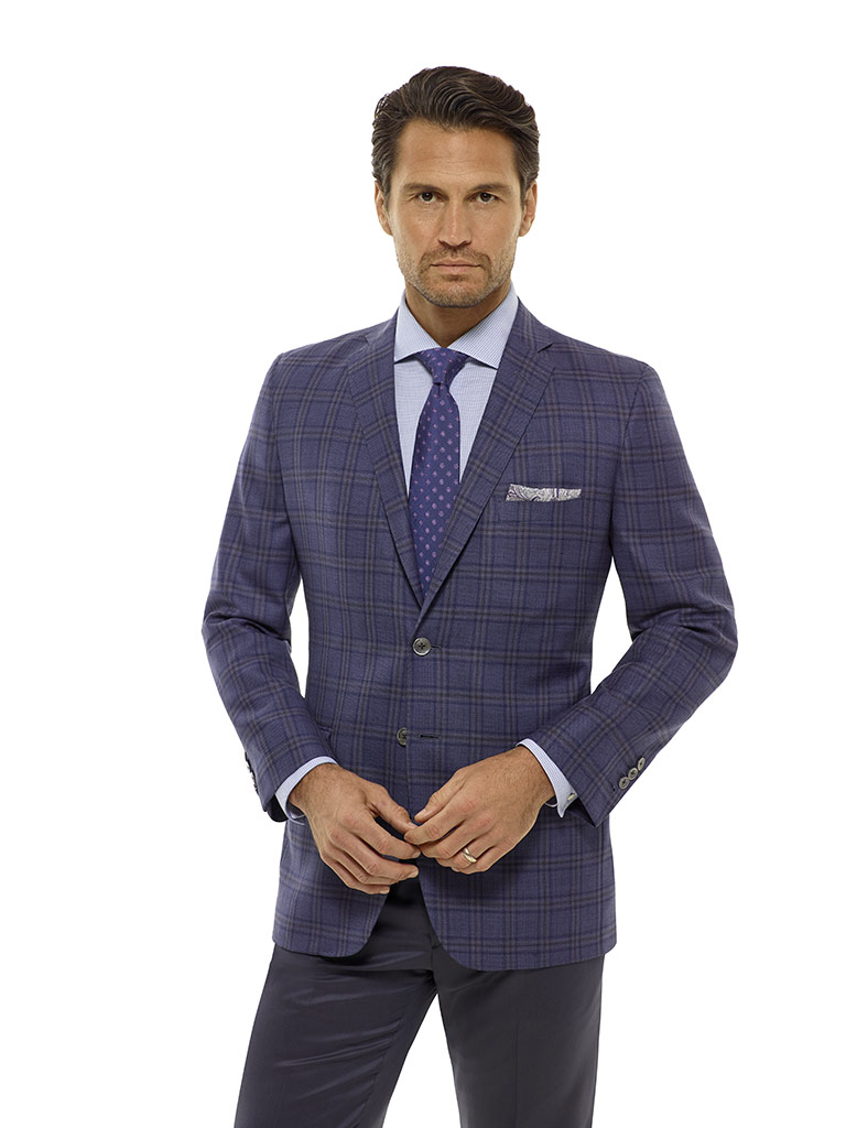 Indigo Plaid Sport Coat - Executive Collection
