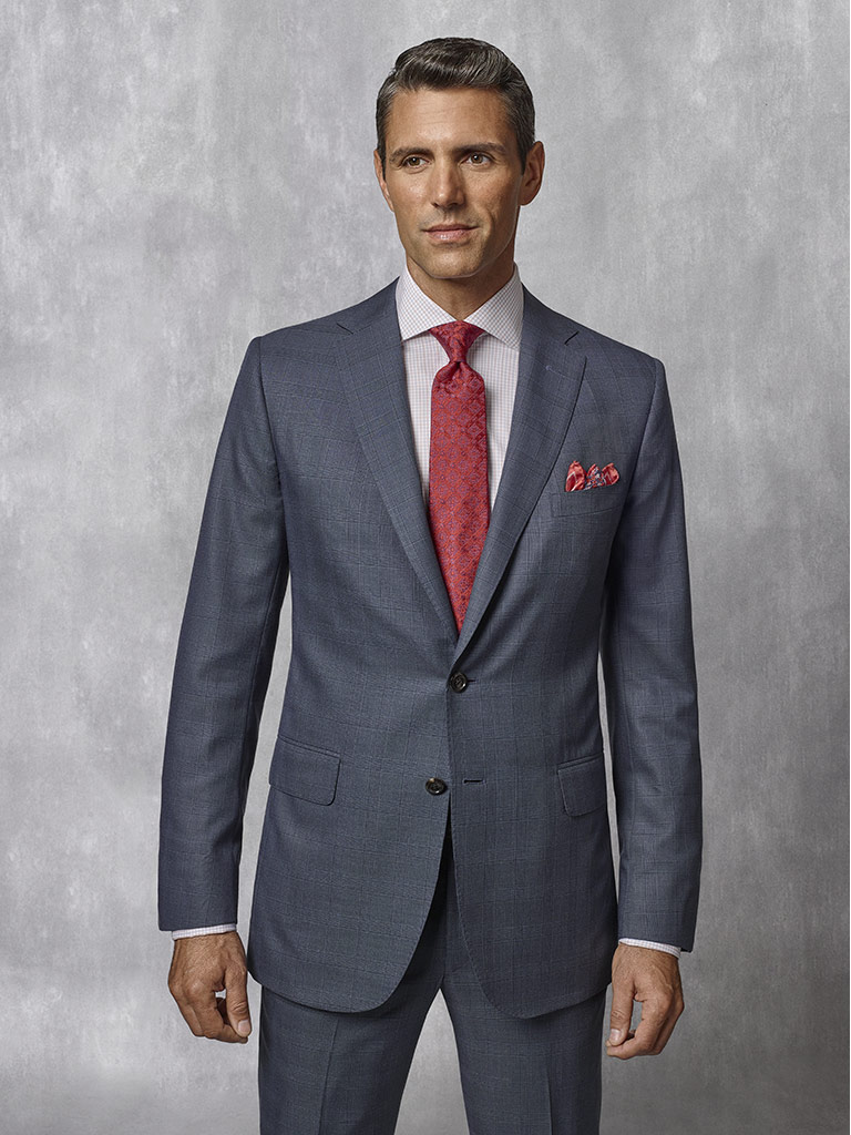 Slate Blue Plaid Suit - Oxxford Collection