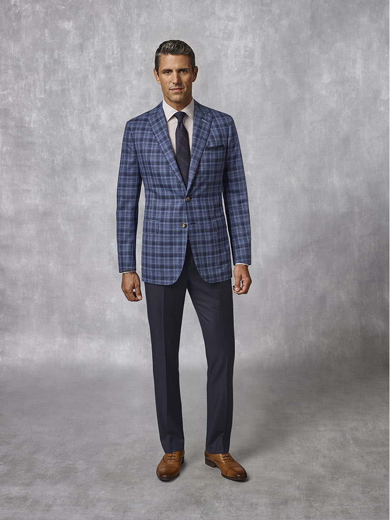 Navy Plaid Sport Coat - Oxxford Collection
