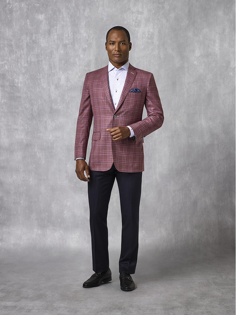 Burgundy Plaid Sport Coat - Oxxford Collection