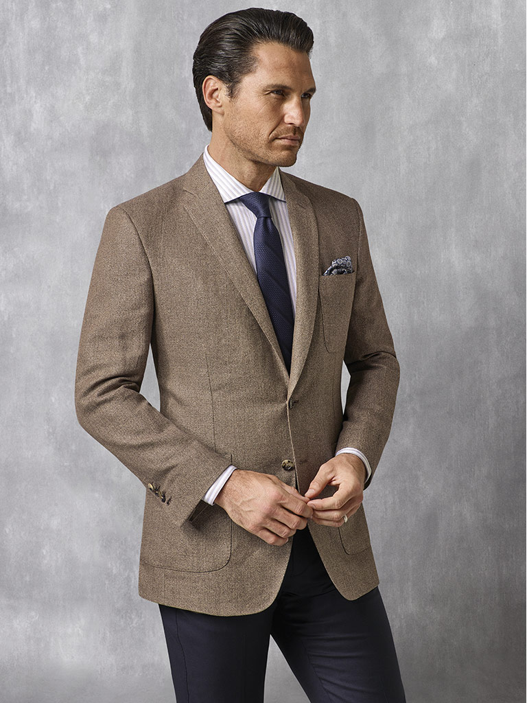 Coffee Solid Blazer - Oxxford Collection
