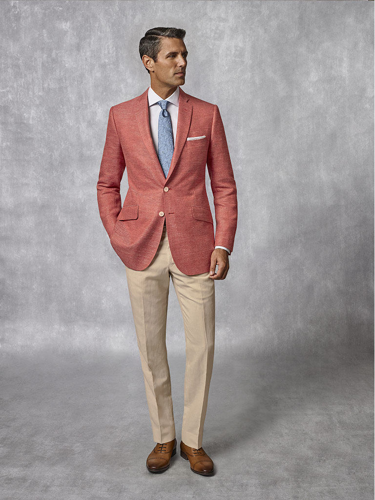 Coral Plain Blazer - Oxxford Collection