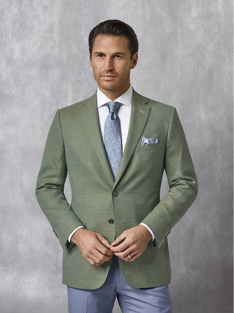 Sage Plain Blazer - Oxxford Collection