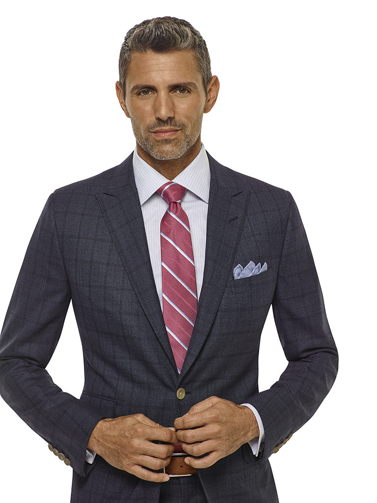 Char Blue Windowpane Suit - Royal Classic Collection
