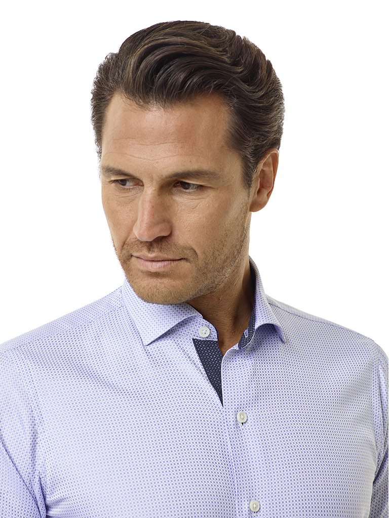 Tom James Custom Blue Jaquard Shirt with Contrast