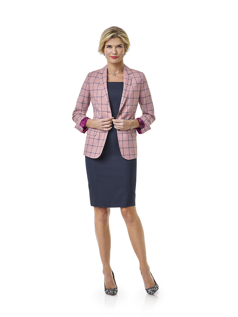 Blush Windowpane Suit- Tom James Women Collection