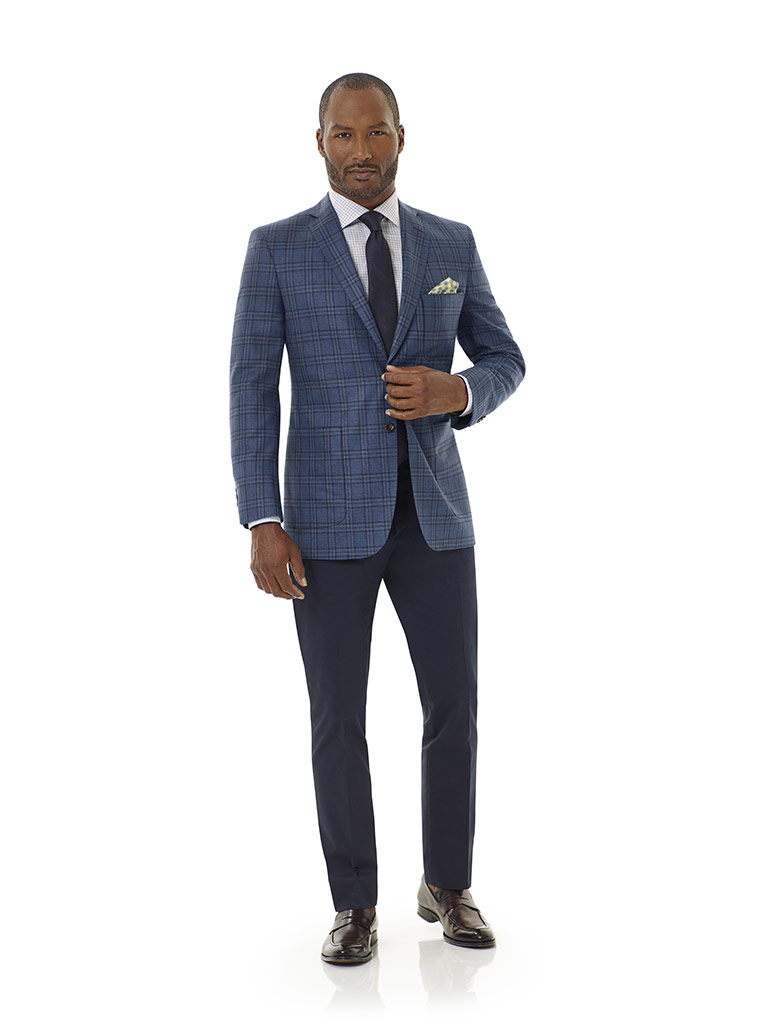 Tom James Men's Custom                                                                                                                                                                                                                                    , Blue Plaid Sport Coat - Corporate Image