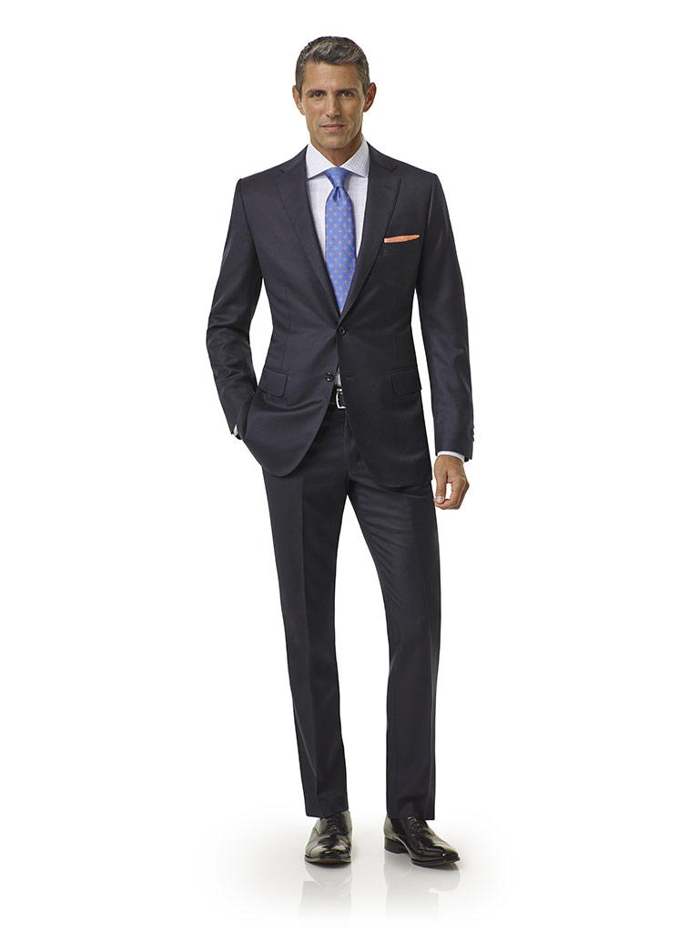 Tom James Men's Custom                                                                                                                                                                                                                                    , Navy Plain Suit - Executive Collection