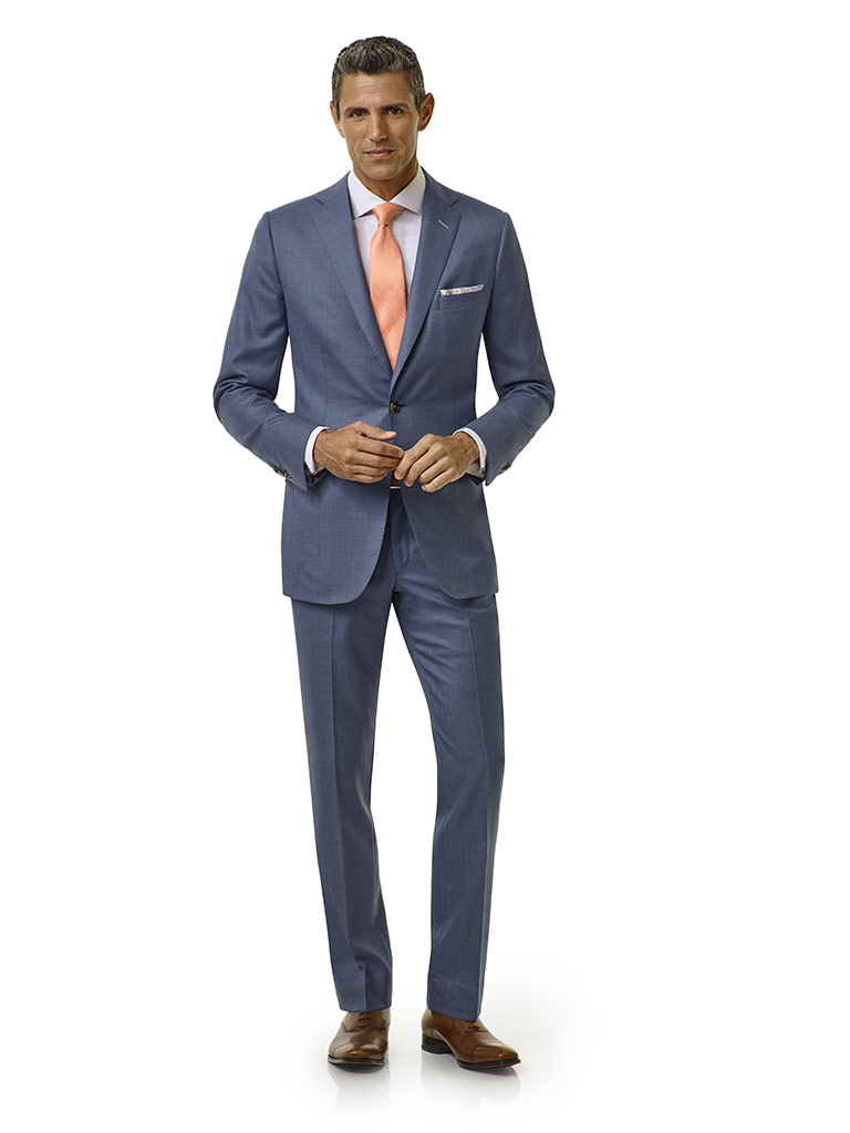 Tom James Men's Custom                                                                                                                                                                                                                                    , Blue Sharkskin Suit - Executive Collection