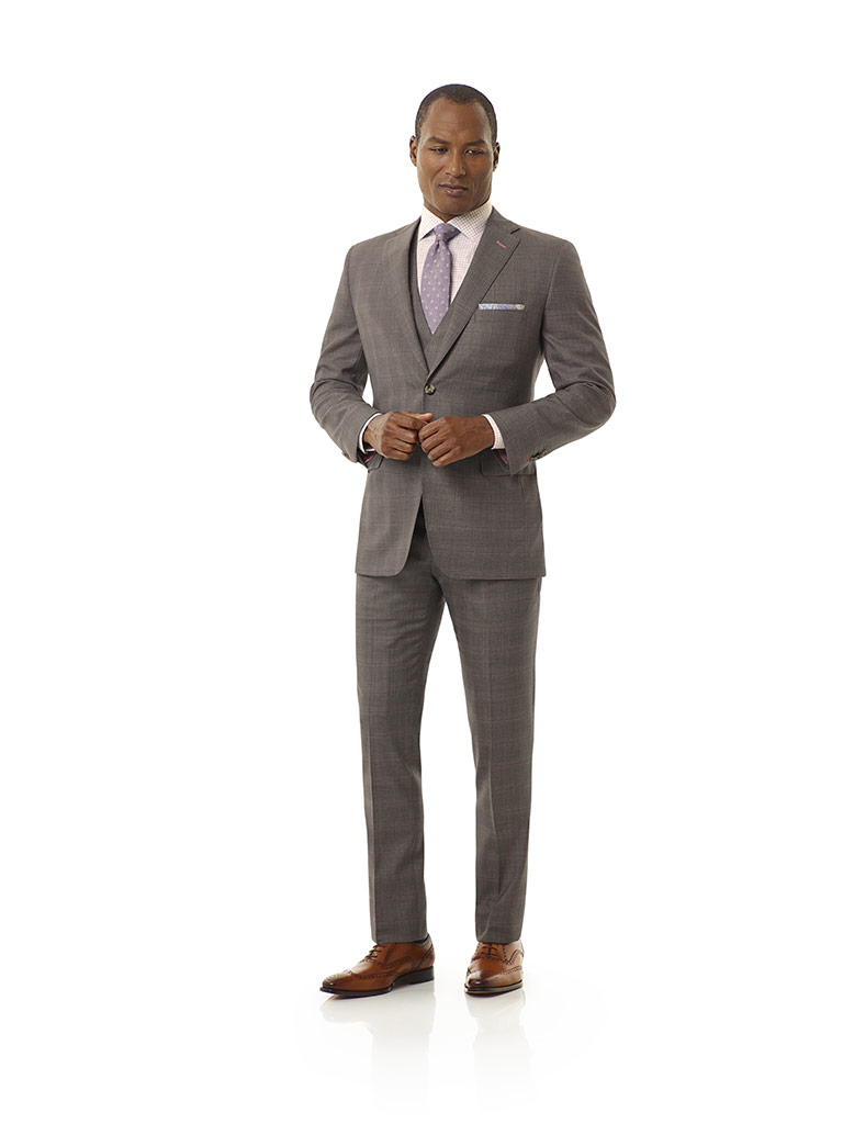 Tom James Men's Custom                                                                                                                                                                                                                                    , Taupe Gray Plaid Suit - Executive Collection