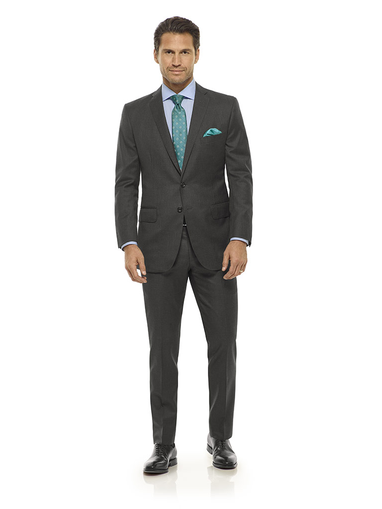 Tom James Men's Custom                                                                                                                                                                                                                                    , Dark Gray Solid Suit - Executive Collection