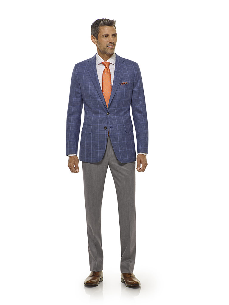 Tom James Men's Custom                                                                                                                                                                                                                                    , Blue Windowpane Sport Coat - Executive Collection