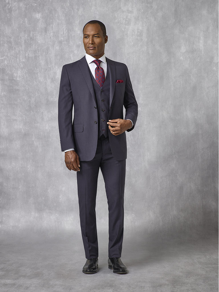 Tom James Men's Custom                                                                                                                                                                                                                                    , Navy Micro Check Suit - Oxxford Collection