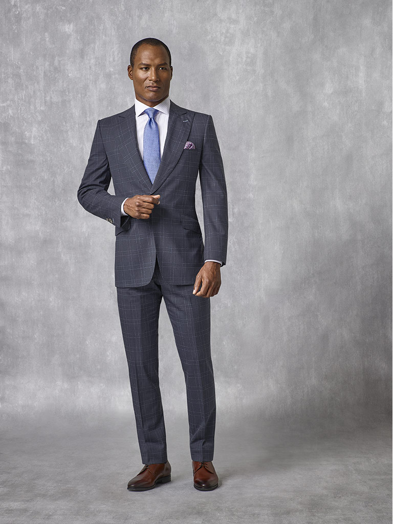 Tom James Men's Custom                                                                                                                                                                                                                                    , Navy Check Suit - Oxxford Collection