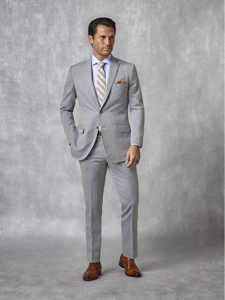 Tom James Men's Custom                                                                                                                                                                                                                                    , Teal Stripe Seersucker Suit - Oxxford Collection