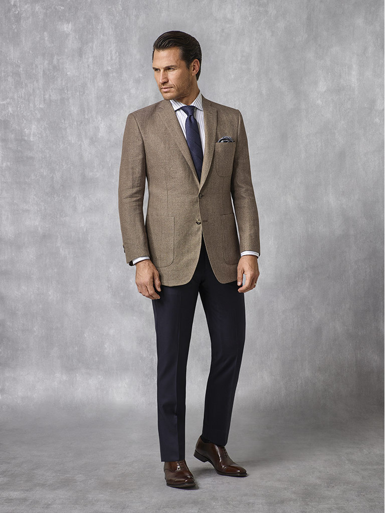 Tom James Men's Custom                                                                                                                                                                                                                                    , Coffee Solid Blazer - Oxxford Collection