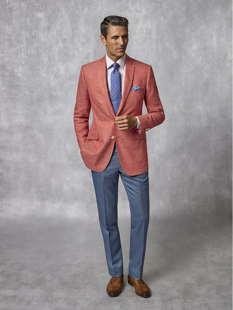Tom James Men's Custom                                                                                                                                                                                                                                    , Coral Plain Blazer - Oxxford Collection
