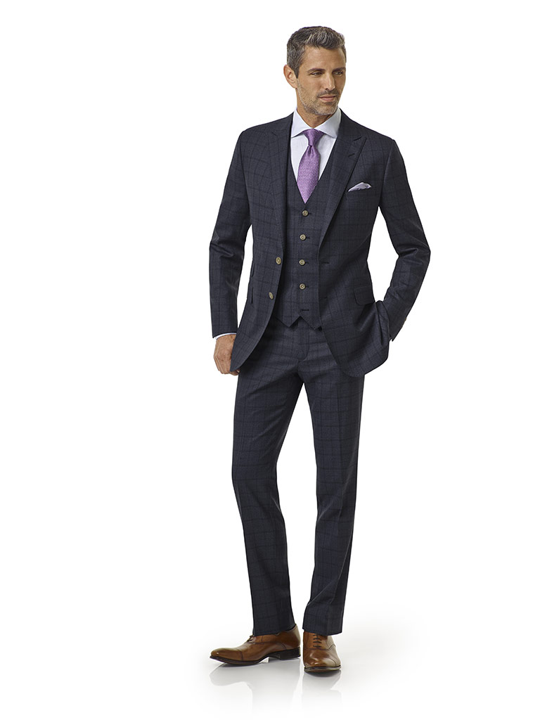 Tom James Men's Custom                                                                                                                                                                                                                                    , Char Blue Windowpane Suit - Royal Classic Collection