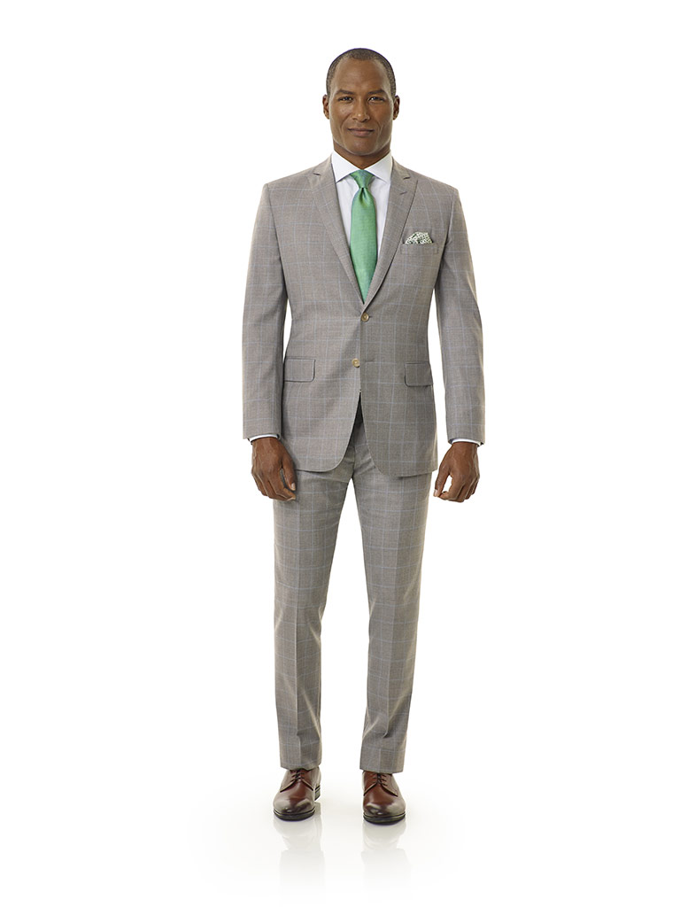 Tom James Men's Custom                                                                                                                                                                                                                                    , Light Gray Windowpane Suit - Royal Classic Collection