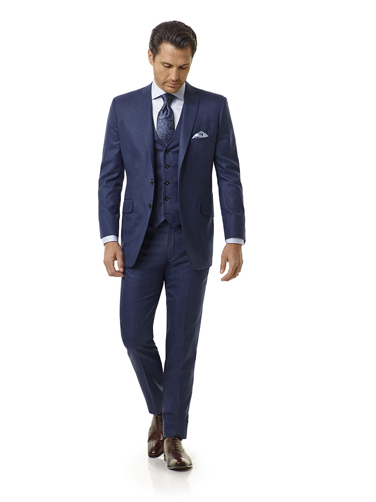 Tom James Men's Custom                                                                                                                                                                                                                                    , Blue Grid Check Suit - Royal Classic Collection