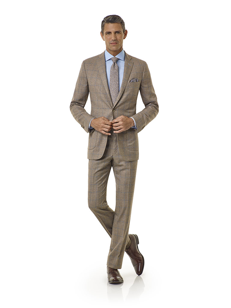 Tom James Men's Custom                                                                                                                                                                                                                                    , Taupe Windowpane - Royal Classic Collection