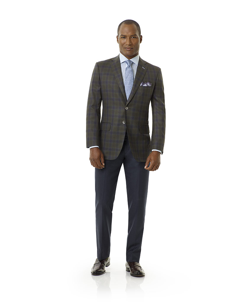 Tom James Men's Custom                                                                                                                                                                                                                                    , Forest Green Plaid Sport Coat - Royal Classic Collection