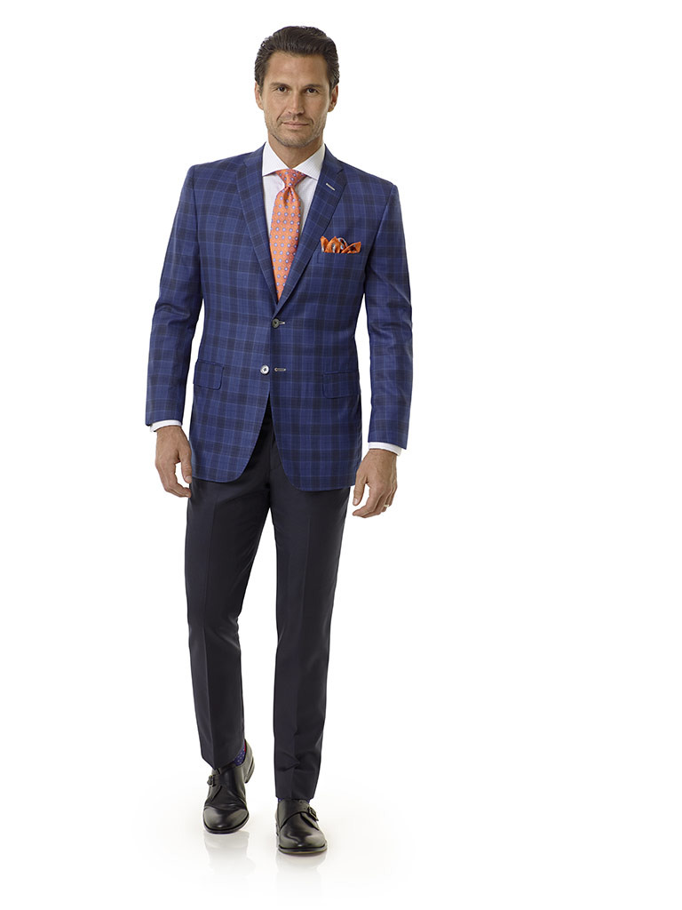 Tom James Men's Custom                                                                                                                                                                                                                                    , Royal Blue Plaid Sport Coat - Royal Classic Collection