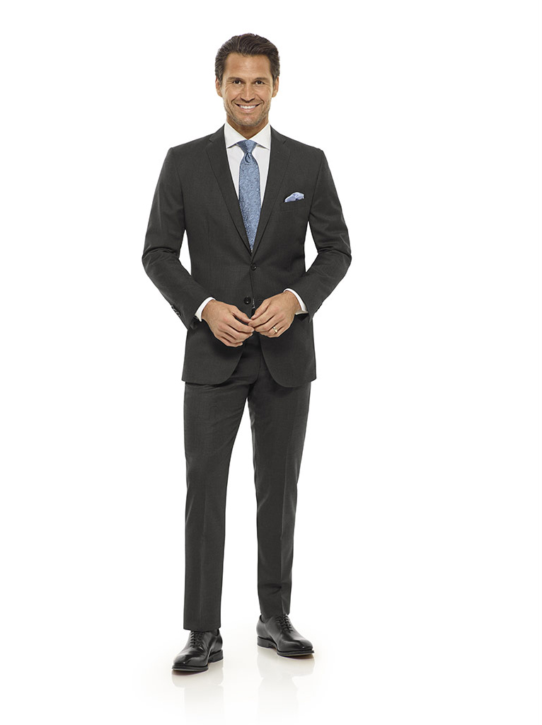 Tom James Men's Custom                                                                                                                                                                                                                                    , Charcoal Solid Holland and Sherry Royal Mile Suit