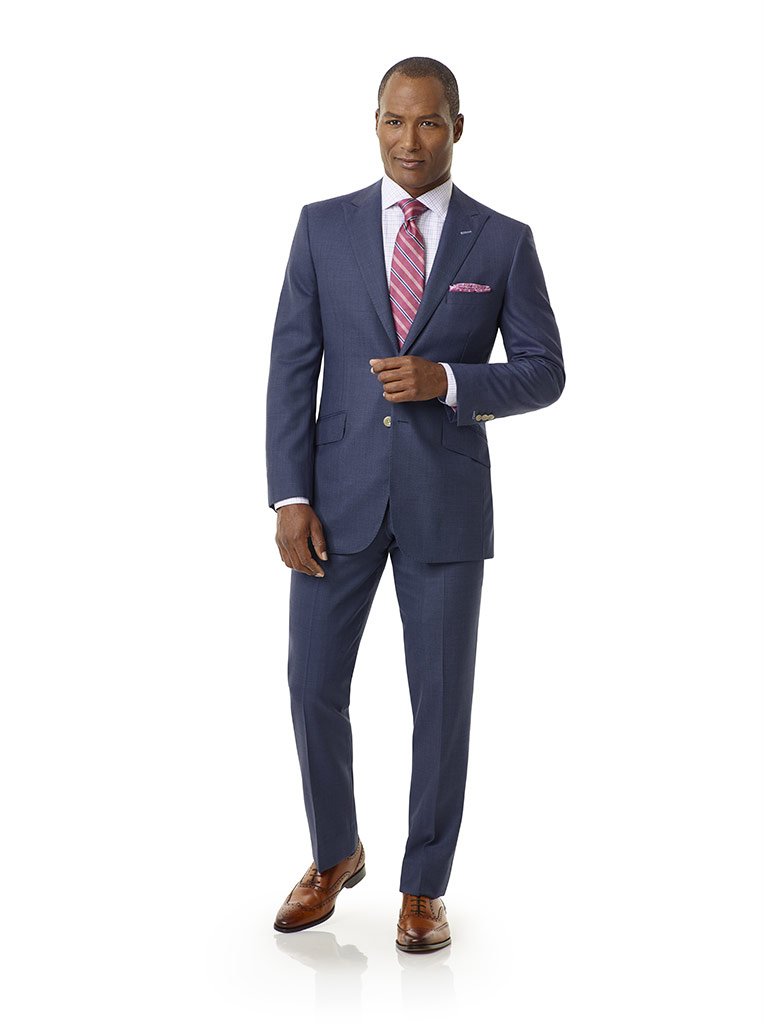 Tom James Men's Custom                                                                                                                                                                                                                                    , Airforce Blue Birdseye Holland and Sherry Royal Mile Suit