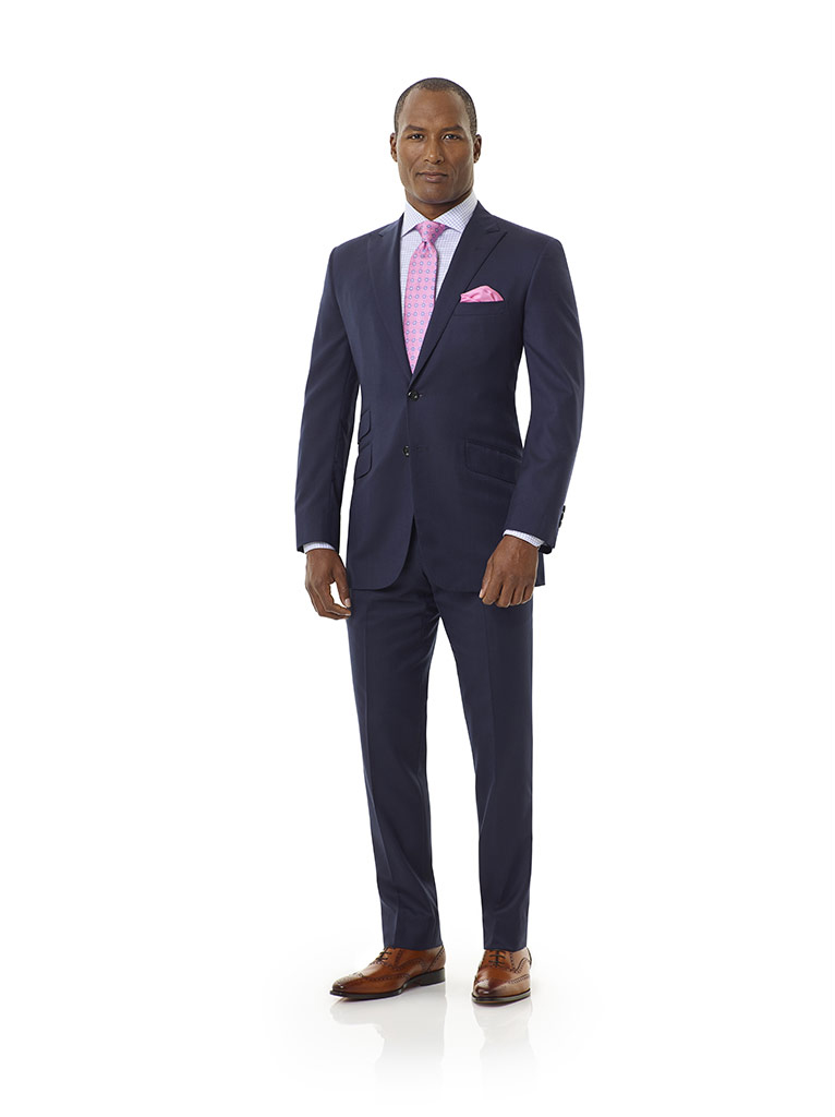 Tom James Men's Custom                                                                                                                                                                                                                                    , Navy Shadow Glen Plaid Holland and Sherry Royal Mile Suit