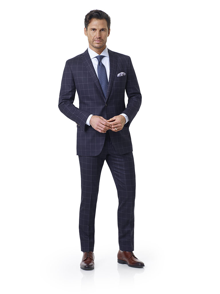 Tom James Men's Custom                                                                                                                                                                                                                                    , Navy Tramline Windowpane Holland and Sherry Royal Mile Suit