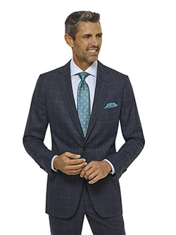 Tom James Men's Custom                                                                                                                                                                                                                                    , Slate Blue Windowpane Suit - Corporate Image