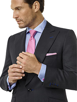 Tom James Men's Custom                                                                                                                                                                                                                                    , Black Fancy Weave Suit - Corporate Image