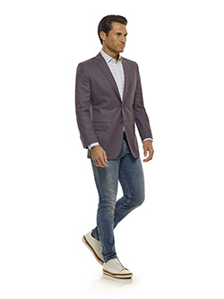 Tom James Men's Custom                                                                                                                                                                                                                                    , Mauve Plaid  Sport Coat - Corporate Image