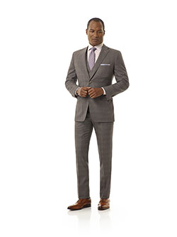 Executive Collection                                                                                                                                                                                                                                      , Taupe Gray Plaid Suit - Executive Collection
