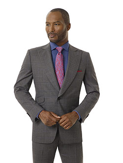 Tom James Men's Custom                                                                                                                                                                                                                                    , Gray Windowpane Suit - Executive Collection
