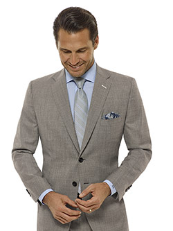Tom James Men's Custom                                                                                                                                                                                                                                    , Light Gray Sharksin Suit - Executive Collection