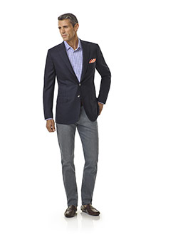Tom James Men's Custom                                                                                                                                                                                                                                    , Navy Diamond Weave Blazer - Executive Collection