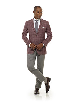Executive Collection                                                                                                                                                                                                                                      , Rust Plaid Sport Coat - Executive Collection