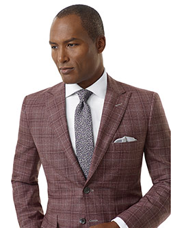 Tom James Men's Custom                                                                                                                                                                                                                                    , Rust Plaid Sport Coat - Executive Collection