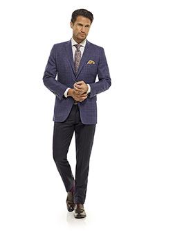 Executive Collection                                                                                                                                                                                                                                      , Indigo Plaid Sport Coat - Executive Collection