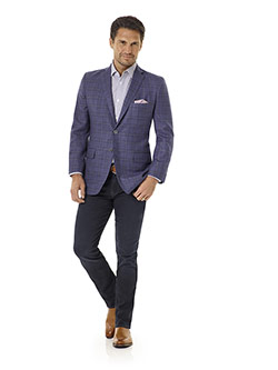 Tom James Men's Custom                                                                                                                                                                                                                                    , Indigo Plaid Sport Coat - Executive Collection