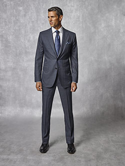 Oxxford Collection                                                                                                                                                                                                                                        , Slate Blue Plaid Suit - Oxxford Collection
