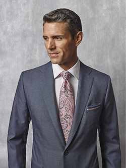 Tom James Men's Custom                                                                                                                                                                                                                                    , Slate Blue Plaid Suit - Oxxford Collection