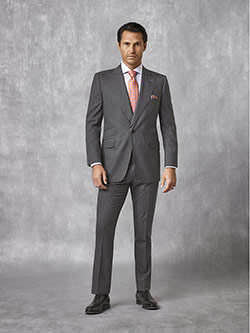 Oxxford Collection                                                                                                                                                                                                                                        , Blue Gray Stripe Suit - Oxxford Collection