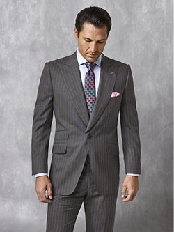 Tom James Men's Custom                                                                                                                                                                                                                                    , Blue Gray Stripe Suit - Oxxford Collection