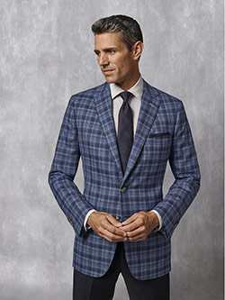 Tom James Men's Custom                                                                                                                                                                                                                                    , Navy Plaid Sport Coat - Oxxford Collection