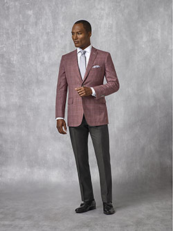 Oxxford Collection                                                                                                                                                                                                                                        , Burgundy Plaid Sport Coat - Oxxford Collection