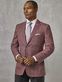 Custom Burgundy Plaid Sport Coat - Oxxford Collection